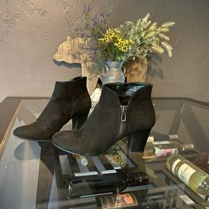 Black suede heeled booties